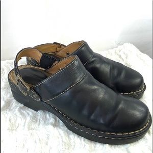 HIGH SIERRA Cody Leather Buckle Slides Mules Clogs